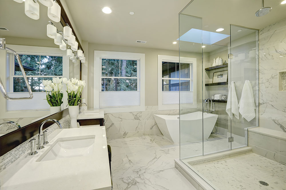 Bathroom Marble Flooring Remodel Houston