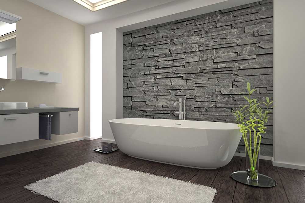 Small Bathroom Remodel Stacked Stone Wood Flooring Garden Tub