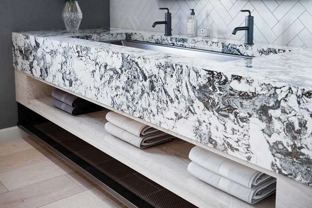 Cambria Quartz bathroom countertops huntley houston granite guy