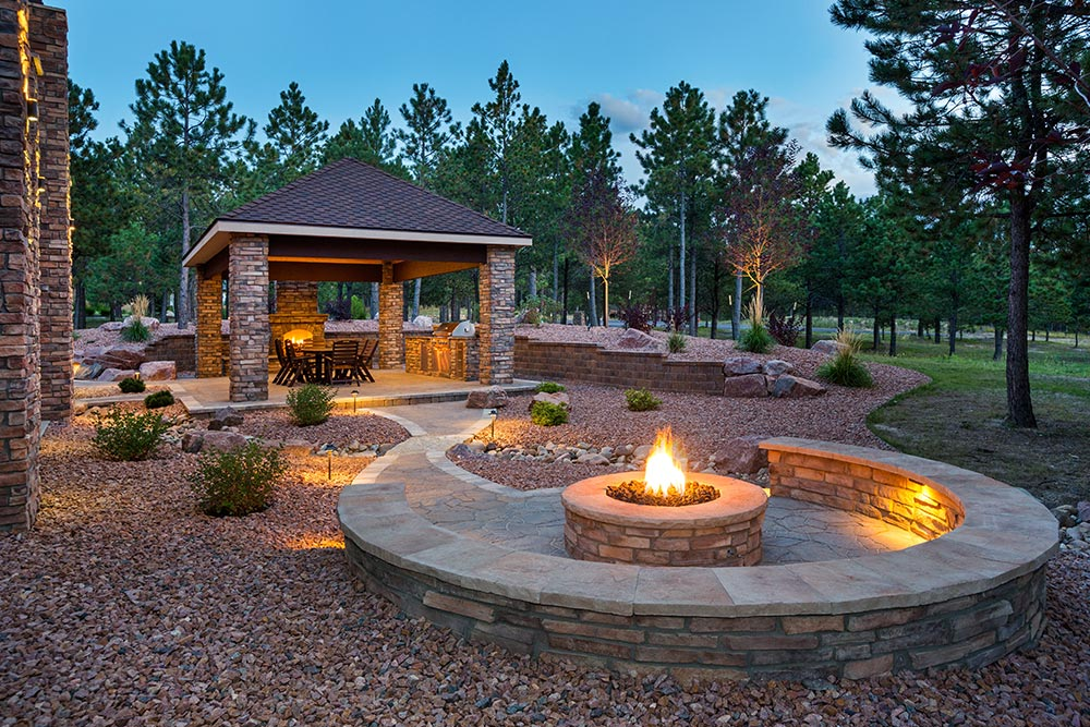 Outdoor Living Fire Pit Stacked Stone Houston Granite Guy
